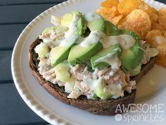 Avocado Tuna Salad with Greek Yogurt | A fresh take on classic tuna salad with greek yogurt instead of mayo. Mix it up with avocado, cherry tomatoes, jalapeños, nuts or potato chips! | @awesomewith