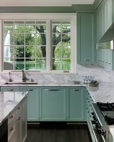 Home Allen Kirsch & Associates - green-ish turquoise cabinets Caring For Baby's Clothes Article Body Marble Countertops Kitchen, Painting Kitchen Cabinets, Beautiful Kitchens, House Beautiful Kitchens, Green Bathroom, Kitchen Colors, Teal Kitchen Cabinets, Teal Kitchen, Kitchen Design
