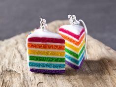 Boucles d'oreilles gâteaux arc en ciel rainbow cake