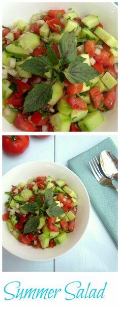 Delicious summer salad.Tomato, cucumber and onion salad recipe