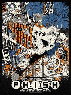 Phish Poster コンサート on Behance Illustration Design Graphique, Japon Illustration, Japanese Illustration, Makeup Illustration, Japanese Graphic Design, Vintage Graphic Design, Graphic Design Posters, Design Typography, Design Logo