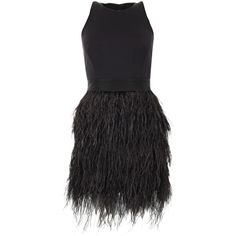 Milly Black Ostrich Feather Trim Dress found on Polyvore