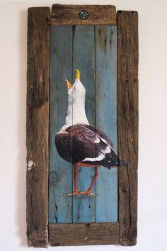 Goéland-oiseaumarin-bois flotte-peinture-acrylique-lasure-deco