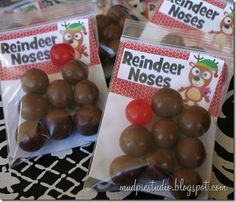 Here's an easy one: Reindeer Noses. Really, just an excuse for me to buy cherry sours and Whoppers.