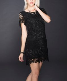 Take a look at this Black Crocheted Lace Short-Sleeve Dress by Adore on #zulily today!