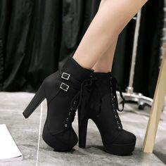 H Fashion Lolita Women Ankle Boots Lace Up High Block Heels Pumps Platform Shoes
