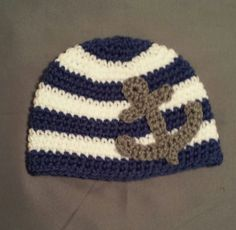 Crocheted Nautical Anchor Striped Beanie Hat by laceylove81