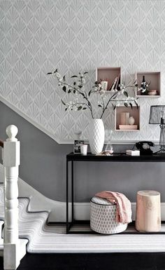Marvelous Team a patterned wallpaper in a soft shade with a darker toning paint colour for a hallway with impact. Box shelving is an easy and stylish storage solution. The post 8 standout hallway decorating ideas appeared first on Interior Designs . Hallway Inspiration, Home Decor Inspiration, Decor Ideas, Wall Ideas, Design Inspiration, Box Room Ideas, Box Room Bedroom Ideas, Furniture Inspiration, Theme Ideas