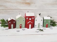 Christmas house ornaments, Set of 5 Little Wooden Houses, Christmas Decoration, Christmas Houses, Dr Etsy Christmas, Christmas Home, Christmas Crafts, Christmas Decorations, Holiday Decor, Little Cottages, Little Houses, Small Cottages, Cottage In The Woods