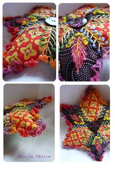 Great idea / ribbons, creweling, seed beads/ smaller pin cushion
