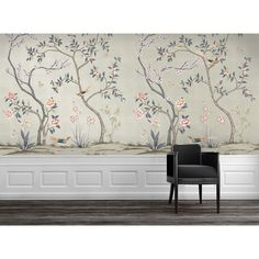 CHINOISERIE Garden Metallic Champagne Tempaper - self-adhesive, removable and reusable wallpaper