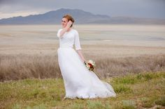 Fae gown by Elizabeth Cooper Design | Photography by Terra Cooper Photography | two piece wedding dress | modest wedding dress | wedding gown | lace | tulle | sleeves | wedding dress with sleeves | utah |