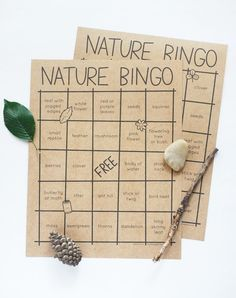 BINGO! See who can find a whole row of nature finds with these adorable printable game cards.