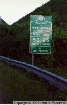 New Jersey State Line Sign