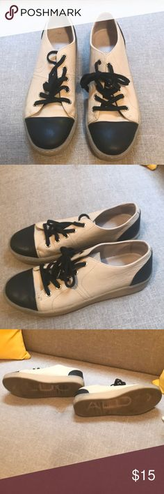 ALDO black and beige sneaker Worn a few times but I have to accept they're too small for my size 8.5-9 foot lol. Great condition. So stylish! Aldo Shoes Sneakers