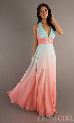 Long Deep V-Neck Halter Ombre Dress by Betsy and Adam