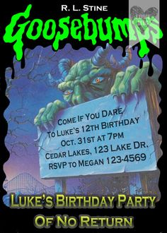 Personalized Goosebumps Book Birthday Party by love1meg1 on Etsy