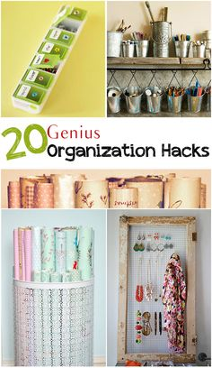 '20 Genius Organization Hacks...!' (via pickystitch.com)