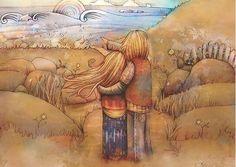 Pareja abrazada mirando al horizonte