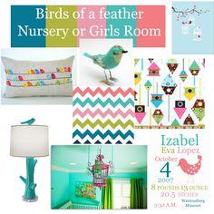 Bird Nursery or Girls Room Ideas//colors