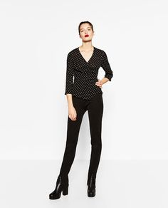 Image 1 of CROSSOVER POLKA DOTS BLOUSE from Zara