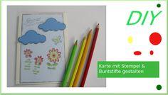 Wolkenkarte zum Geburtstag selbermachen mit Buntstifte & Stempel [deutsch]