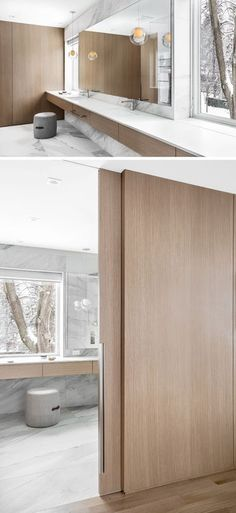 height pocket doors in the same white oak. Oak Panels, Modern Windows, Bathroom Windows, Mirror Bathroom, White Rooms, White Walls, Pocket Doors, White Bathroom, Bathroom Modern