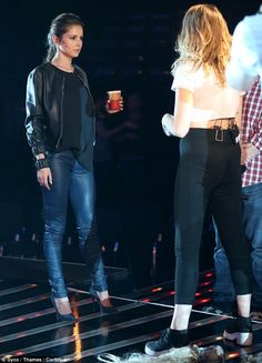 Focussed: Cheryl Fernandez-Versini was spotted rehearsing with her X Factor contestants Lola Saunders and Lauren Platt at London's Fountain Studios on Friday