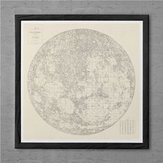 MAP of the MOON Antique Wall Art - Antique MOON Map - Vintage Moon Print - Antiq