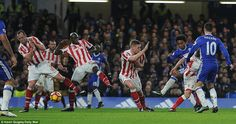 Willian (third right) drilled home in the 57th minute to restore Chelsea's advantage after Stoke's early second half strike