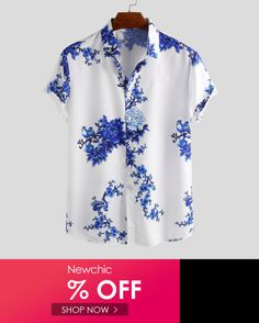 YUNY Mens Hipster Printed Casual Slim fit Short Sleeve Casual Polo Shirt White S