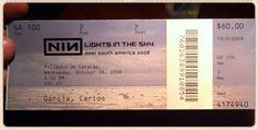08/10/2008: Esta fue la entrada de Nine Inch Nails de venta directa para los fans a través de la web de la banda. Costaba 60 USD (129.000 Bs de la época, pero había que pagarla en dólares). Foto cortesía de https://twitter.com/CarlosZombie