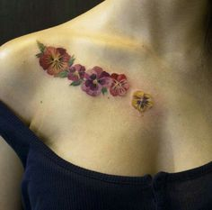 Colorful pansies tattoo!