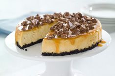 TOBLERONE-Topped Caramel Cheesecake Recipe -Complete with a caramel drizzle...swoon.