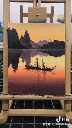Canvas Painting Tutorials, Diy Canvas Art, Art Sketches, Art Drawings, Watercolor Art Landscape, Mountain Paintings, Realistic Paintings, Art Prints, Watercolor Landscape Paintings