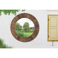 Sunjoy Recycled Fir Wood Wide Border 27-inch Round Mirror