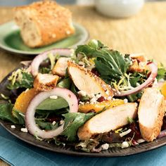 Superfast Chicken Recipes | Spiced Chicken and Greens with Pomegranate Dressing | CookingLight.com