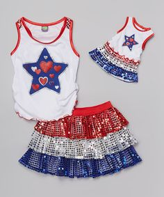 Love this White & Blue Sequin Skirt Set & Doll Outfit - Girls by Dollie & Me on #zulily! #zulilyfinds