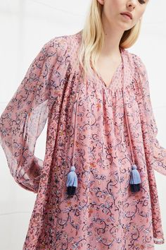 French Connection Savana Sheer Folk Top - Savona Sand S Boho Outfits, Summer Outfits, Boho Chic, Tunic Tops, Style Inspiration, Clothes For Women, Folk, Womens Fashion, French Connection
