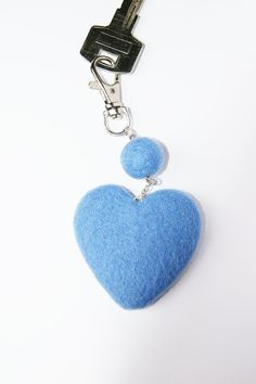 Wool Needle Felted Keychain Bag Charm with Blue Heart  Key Ring Christmas Valentines Mother Day Present  Gift by LiviasDreams on Etsy https://www.etsy.com/listing/213001222/wool-needle-felted-keychain-bag-charm