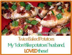 Twice Baked Potatoes — Soda Pop Avenue Pasta Recipes, Dinner Recipes, Cooking Recipes, Baked Potato Recipes, Twice Baked Potatoes, Time To Eat, Potato Dishes, Vegetable Recipes, Food Hacks