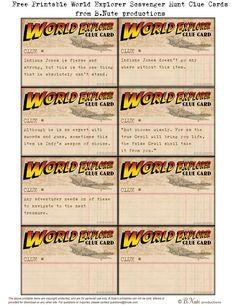 Free Printable World Explorer Indiana Jones Scavenger Hunt Game