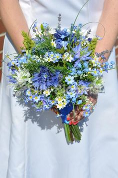 Shop Stunning Blue Wildflower Bridal Bouquet with Cornflowers online from Silk Blooms at just £ It is an online artificial wedding flowers store in UK. Wedding Flower Guide, Modern Wedding Flowers, Spring Wedding Flowers, Flower Bouquet Wedding, Floral Wedding, Wedding Tips, Wildflowers Wedding, Flower Bouquets, Budget Wedding