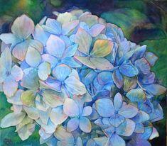 """Hydrangea"" - by Jeannie Vodden Art Floral, Watercolour Painting, Watercolor Flowers, Hydrangea Painting, Botanical Illustration, Beautiful Paintings, Gouache, Art Pictures, Flower Art"