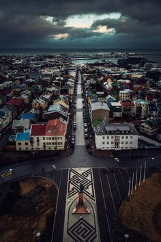 Reykjavík, Iceland - I think this picture is taken from the top of Hallgrímskirja, the church. I have been there and I think it's so beautiful! The view over Reykjavík is amazing!