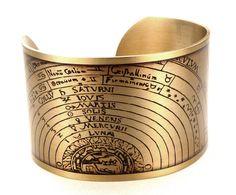 Astronomy Cuff, Astrology Bracelet, Vintage Astronomy, Science Jewelry