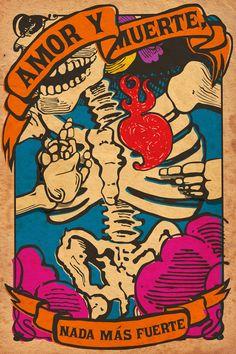 Amor y muerte. Illustrations, Illustration Art, Bad Trip, Arte Black, Desenho Tattoo, Vintage Poster, Mexican Art, Heart Art, Art Plastique