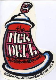Early 90's The New Deal Skateboards Spray-paint Can Sticker Ed Templeton.  Please click on photo to purchase item.