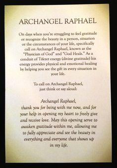 A short prayer/meditation for Archangel Raphael by Rebecca Rosen.