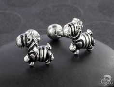 Are zebras white with black stripes, or black with white stripes? Either way, they're all cute, and we especially love them on these barbells! Tragus, Zebras, Barbell, Black Stripes, Body Jewelry, Piercings, Cufflinks, Kawaii, Tattoos